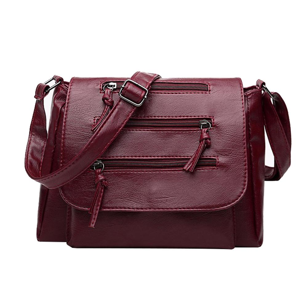 5328224007 Solid Color Zipper Flap Shoulder Crossbody Bag Faux Leather Lady Vintage  Handbag Designer Purses Satchel Bags From Godefera
