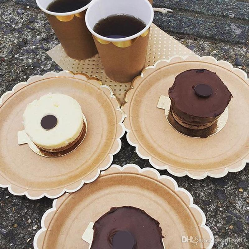 Wholesale Pure Kraft Paper Themed Disposable Tableware Set Paper Plates Cups Napkins Party Wedding Carnival Tableware Supplies Highend Disposable Tableware ... & Wholesale Pure Kraft Paper Themed Disposable Tableware Set Paper ...
