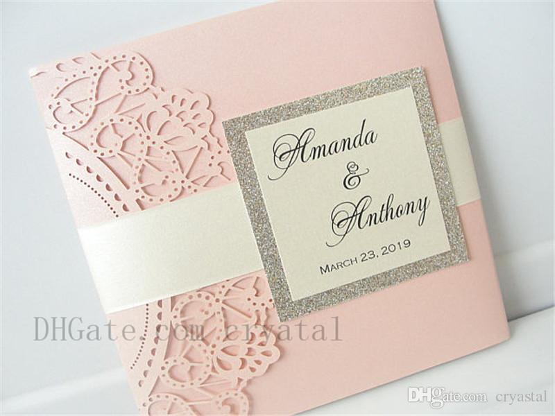 Pocketfold Wedding Invitations Wholesale: Lasercut Wedding Invitation With Envelope, Laser Cut