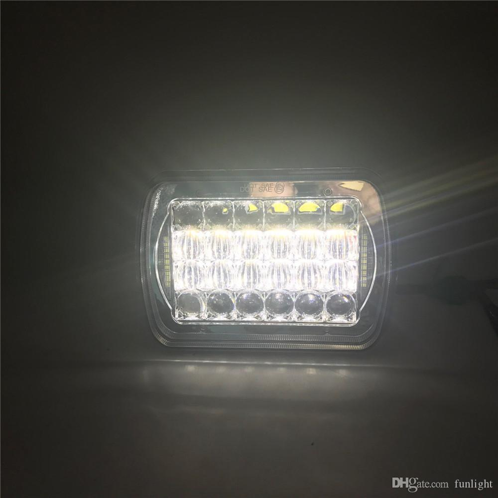 "Truck Black 7x6 90W Led Headlights Conversions Sealed beam With Angel Eyes Halo DRL "" DOT SAE E9 "" 5X7Inch"