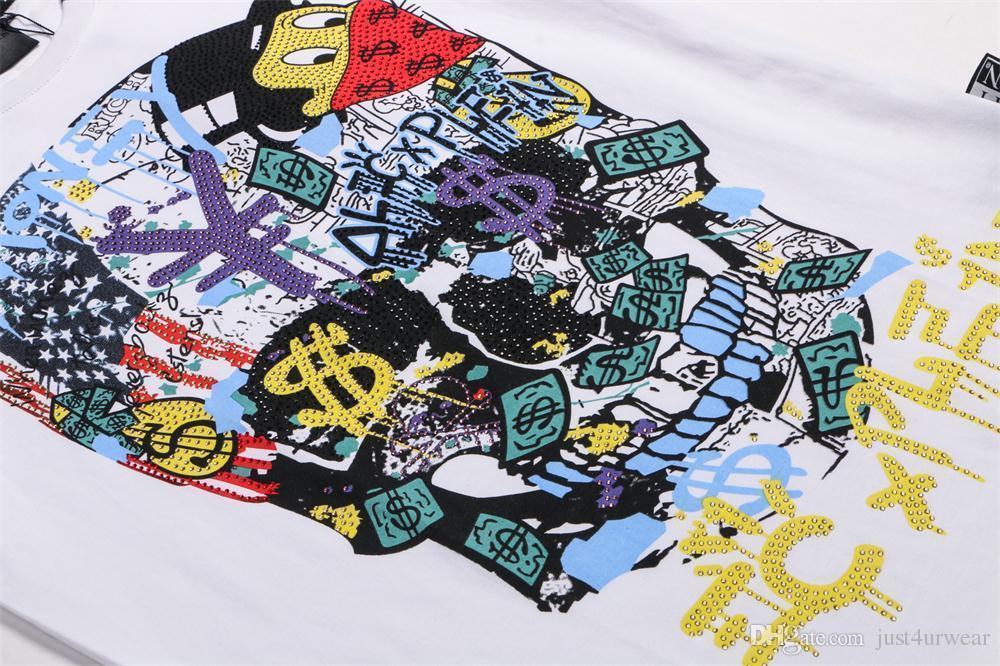 Mens Carta de Dinheiro de Luxo Imprimir Camisetas Marca de Manga Curta Tshirt Desenhador Pato Tees Moda Masculina Solto Streetwear Tees Tops