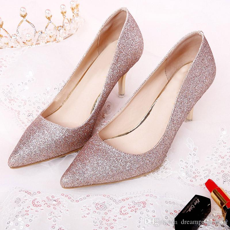 e6f57f149ba Rose Gold Wedding Shoes For Bride 2018 Summer New Style Bridal Crystal Shoes  Bridesmaid Shoes High Heels Paradox Wedding Shoes Pink Wedding Shoes Uk  From ...