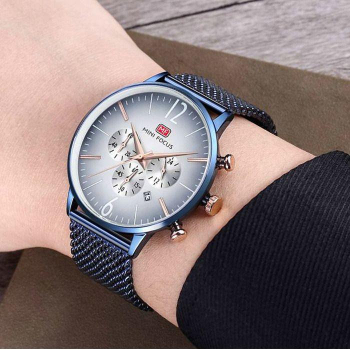 2aa14123842 Compre MINI FOCO Top Marca De Luxo Homens Cronógrafo Relógios Desportivos  De Quartzo Data Analógico Relógio De Pulso De Aço Inoxidável Masculino  Relógio De ...