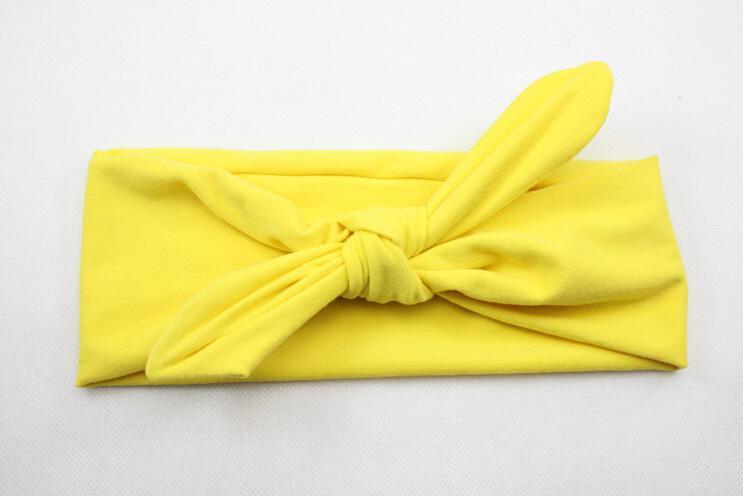 Neugeborenen Bogen Knoten Baumwolle Einfarbig Stirnband Mode Niedlichen Kinder Kaninchen Ohr Elastisches Stirnband Headwrap Haarband Zubehör