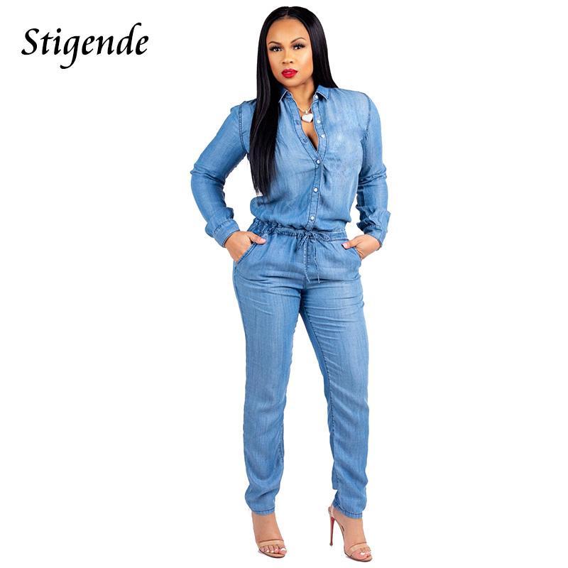 quality design 024af 3de18 Stigende PLUS TAGLIA Denim Salopette Tute da donna Jeans aderenti Tuta  Pantaloni con coulisse Manica lunga Tuta casual