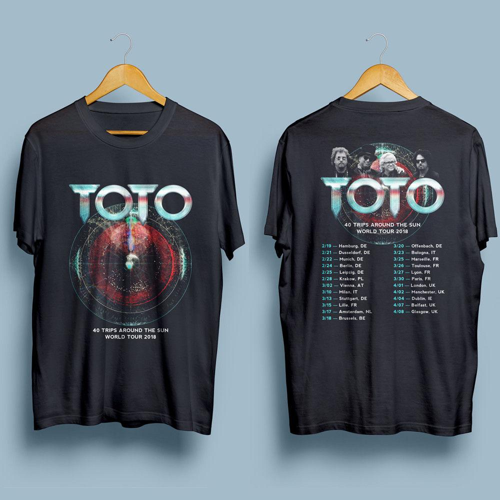 0334291285f5cd TOTO 40 Trips Around The Sun World Tour 2018 T Shirt Men Two Sides Casual  Gift Tee USA Size S 3XL Designer Mens T Shirt Really Cool Sweatshirts From  ...