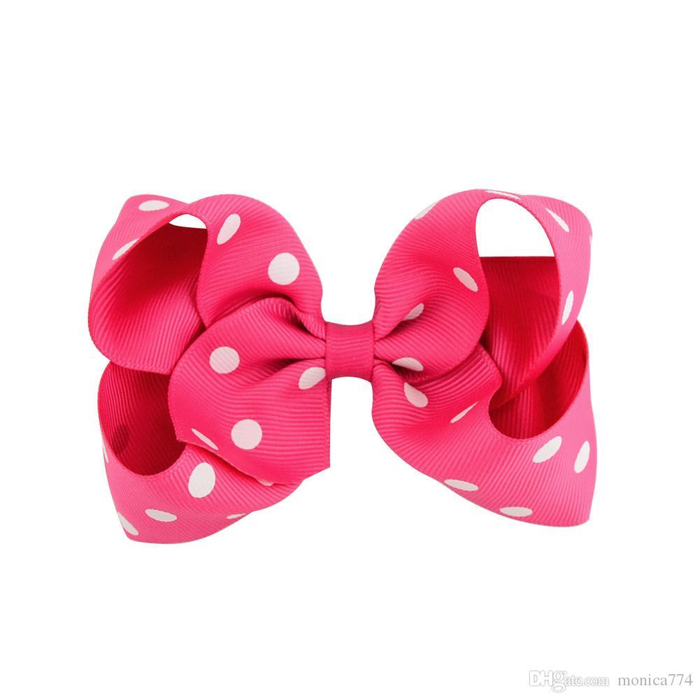 ¡Promoción al por mayor! 4.5Inch Dot Flower Hair Clip Niñas Candy Colorful Bowknot Barrettes Accesorios para el cabello Duck Clip Niños Headwear H21