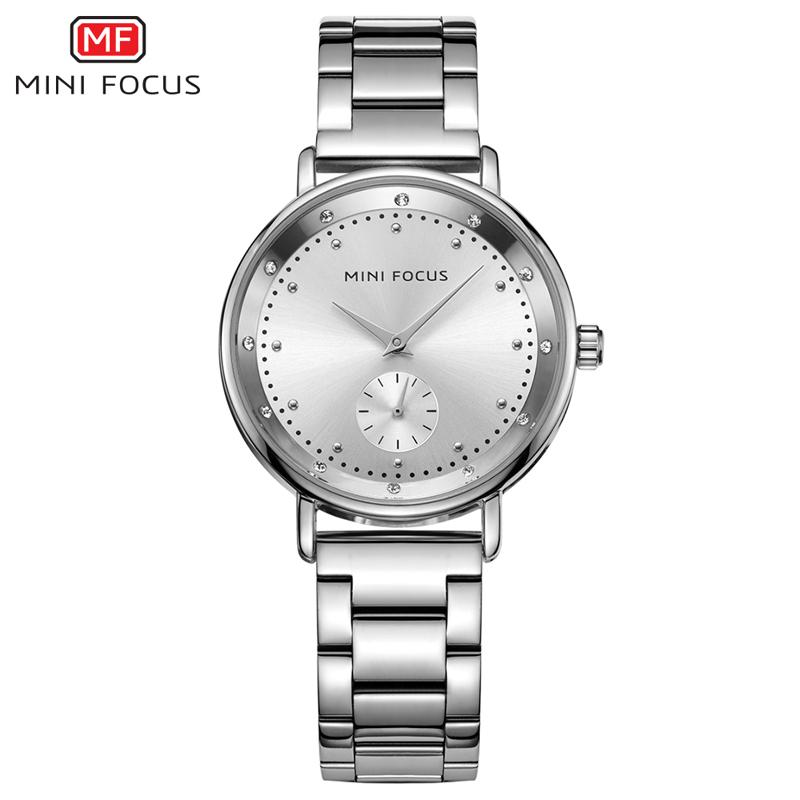 9a8ee9846a3 Compre MINI FOCO Moda Relógio De Quartzo Das Mulheres Relógios Senhoras Da  Marca De Luxo De Aço Inoxidável Relógio De Pulso Feminino Relógio De Prata  Montre ...