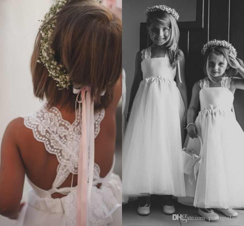 1aa180985aa Adorable A Line Long Flower Girl Dresses With Square Neck Criss Cross Back  Little Girls Wedding Dresses Pageant Dresses Flower Girl Dress Shops Flower  Girl ...
