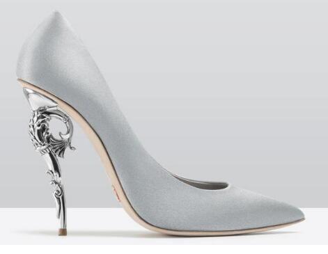 2018 Red/Green Island Heel Baroque Pumps Curve Ornate Spiralling Woman Fashion Runway Metal Stilettos Pointed Toe Women Dress Shoes
