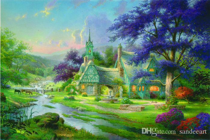 Best Quality Thomas Kinkade Oil Painting Art Landscape Series ...