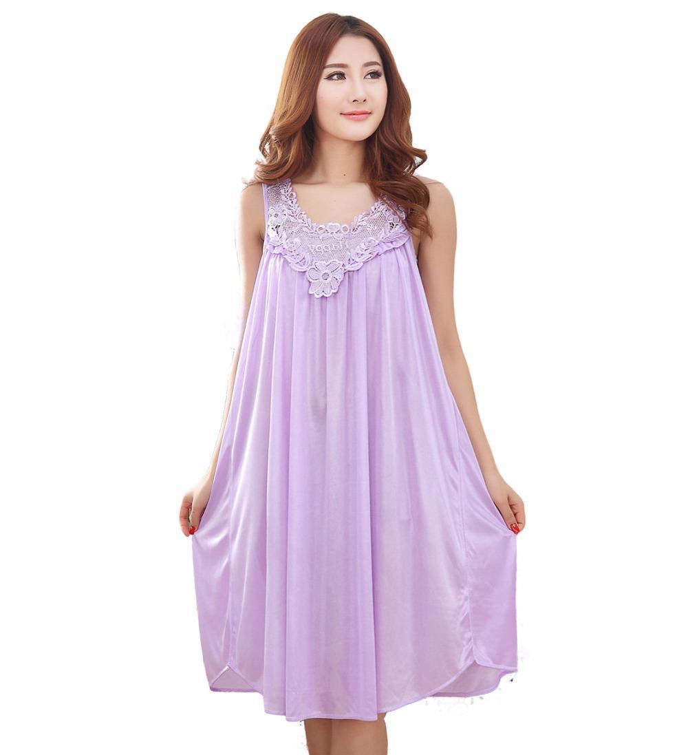 2018 Summer Long Silk Nightgown Nightdress For Women Plus Size ...