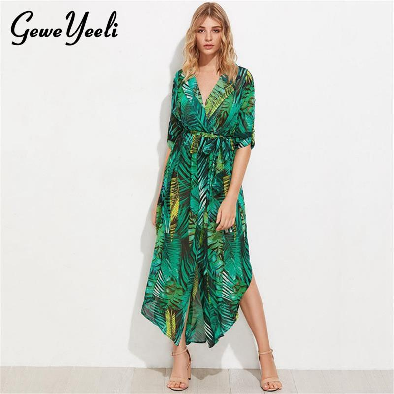 876ae11ebc5 Chiffon Long Sleeve Dress Green Tropical Print Vintage Maxi Dresses Boho  Casual V Neck Belt Lace Up Tunic Draped Plus Size Dress