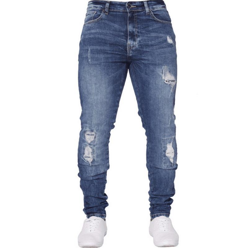 af8d25ebb0 Compre Laamei 2018 Moda Hombres Pantalones De Mezclilla Solid Ripped Skinny  Biker Cremallera Jeans Fly Deshilachó Slim Destruyó Hole Fit Pantalones  Lápiz A ...