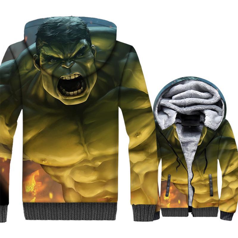 Acquista Harajuku Felpe Uomini 2018 Abbigliamento Invernale Spessore Zip  Fodera In Lana Streetwear Vestiti Divertente Hulk 3D Stampato Giacche  Cappotti A ... 103e92a1f2e