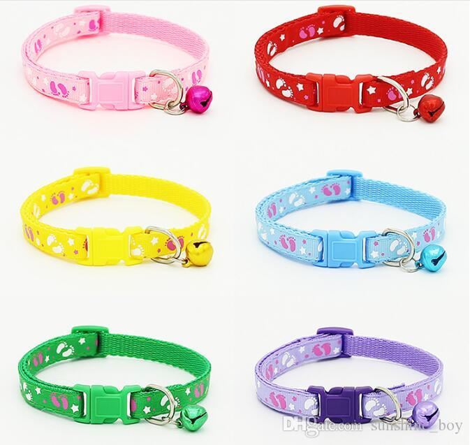 2018 High Quality Safety Nylon Dog Puppy Cat Collar Breakaway Adjustable Cats Collars with charm Bell and Star Foot width 1.0cm