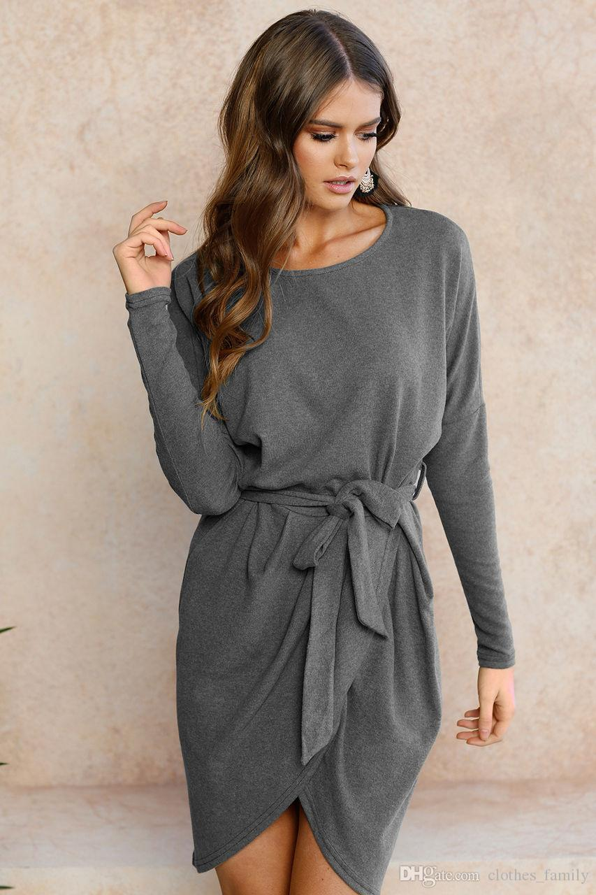 Top 2020 New High Quality Women Fashion Dresses Round Collar Loose Irregular Dresses Slim Casual Sexy Plus Size Knitted Dresses With Belt