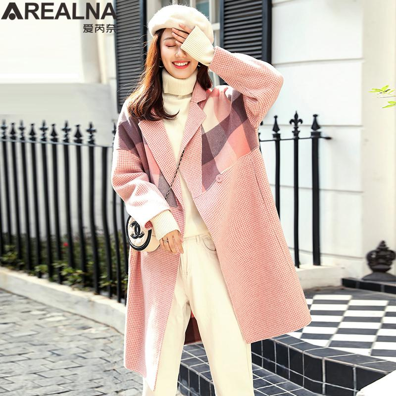 553391cd9e 2019 Korean Plus Size Woman Long Coats Houndstooth Plaid Patchwork Wollen  Winter Coat Women Pink Oversized Laides Cashmere Cape Coat From Sheju