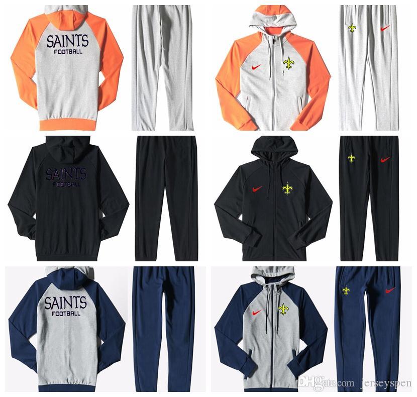 reputable site 214ee e853e New Orleans Saints Men'S Print Full Zip Sports wear Men'S Sport Suit  Bodysuit Plus Pantsuit Blue Ash Black Orange white splicing