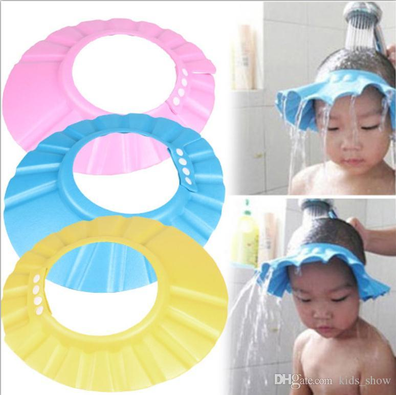 9b81760f978 2019 Adjustable Baby Shower Cap Safe Shampoo Shower Bathing Bath Protect  Soft Cap Baby Wash Hair Shield Children Bathing Hat From Kids show