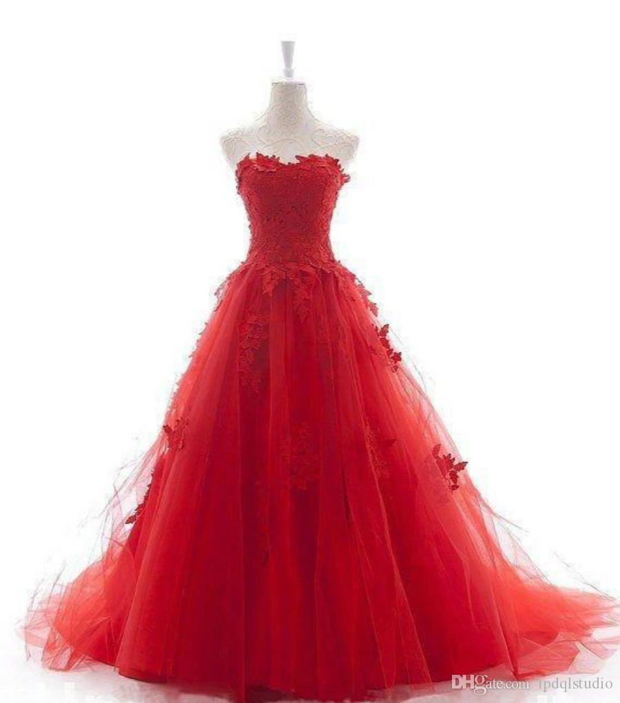 Red Ball Gown Wedding Dress Sweep train Plus Size Wedding Dresses Bridal Gowns Sweetheart Sleeveless Lace-up Back Pleats Tulle with Lace