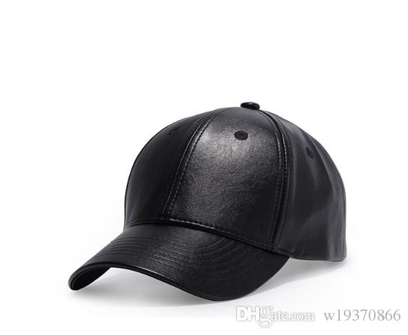 European And American Men s Summer PU Leather Monochrome Baseball Cap Women  with Curved Eaves Cap Korean Version Lady s Hat High Quality Hip-hop  Dancing Hat ... edac60b02be