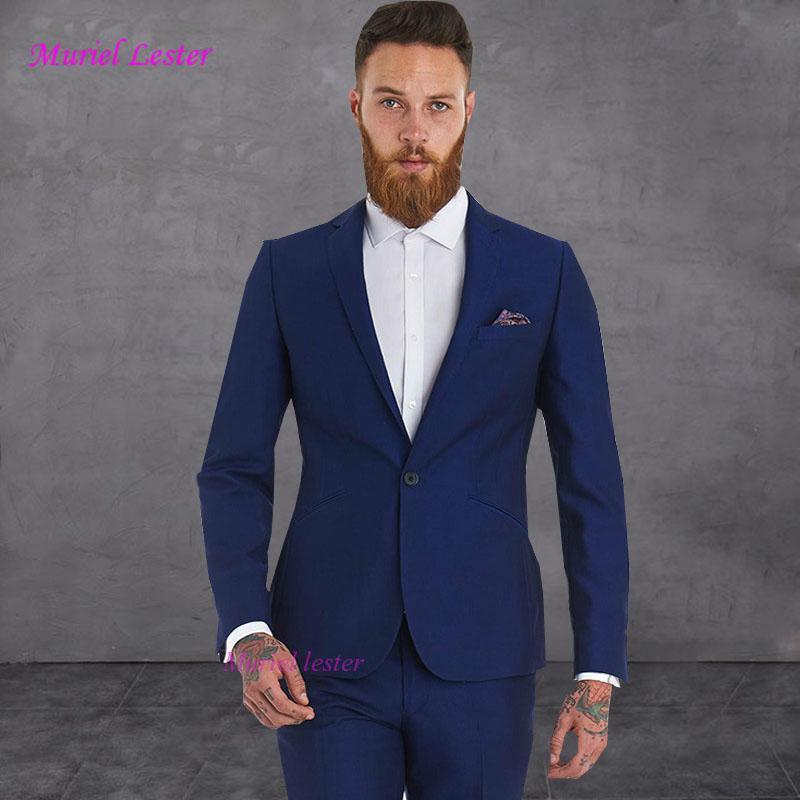 Grosshandel Muriel Lester Vintage Herren Anzuge Royal Blue Hochzeit