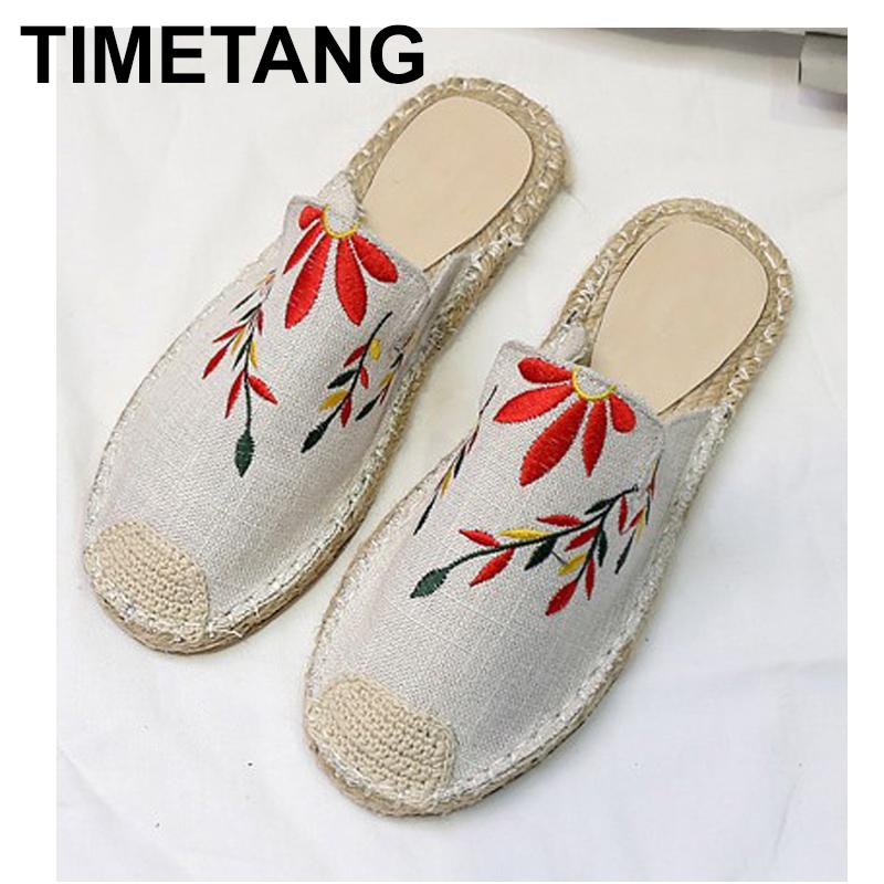 6062efdfb TIMETANG Women Shoes Embroider Dress Shoes Rhinestones Outside Basic High  End Satin Wearing Sandals Straw Woven Flat Soled E272 Over The Knee Boots  Womens ...
