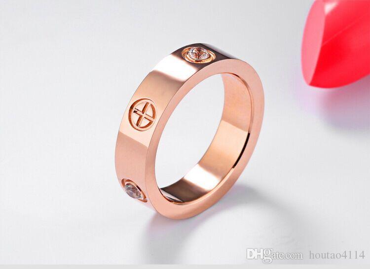 Europäische und amerikanische Mode LOVE Zirkon Ring Paar Modelle Schraube Titan Stahl Ring Paar Roségold Frauen Ring