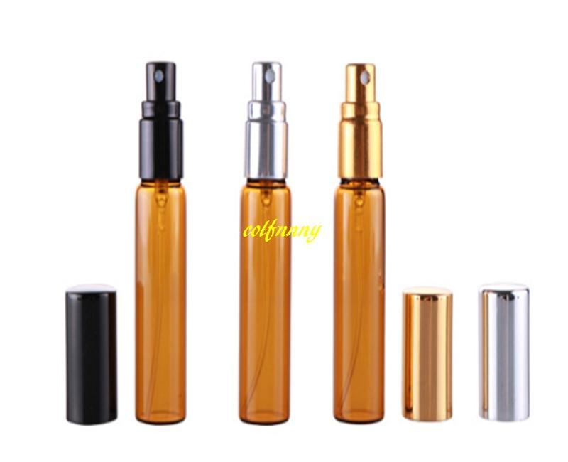 200 unids / lote 5 ML 10 ML Botella de Amber Glass Spray Emtpy Botellas de Perfume Recargables Con Cubierta Completa Alumium cap 17mm Diamemter