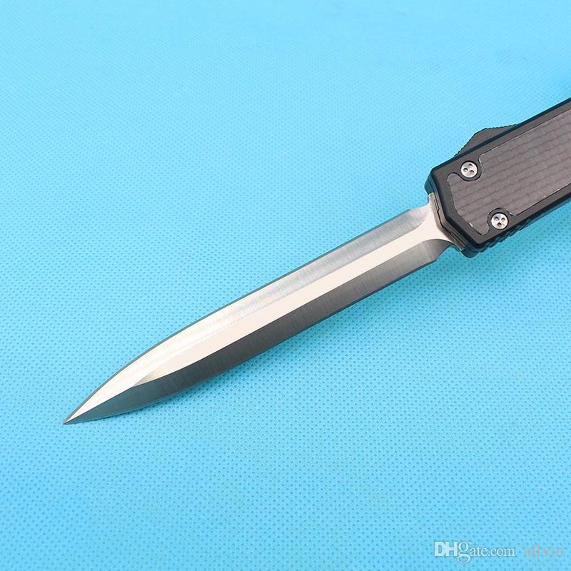 High End Auto Tactical Knife D2 Satin Double Action Blade Carbon Fiber Handle Hunting Folding Pocket Survival Knife