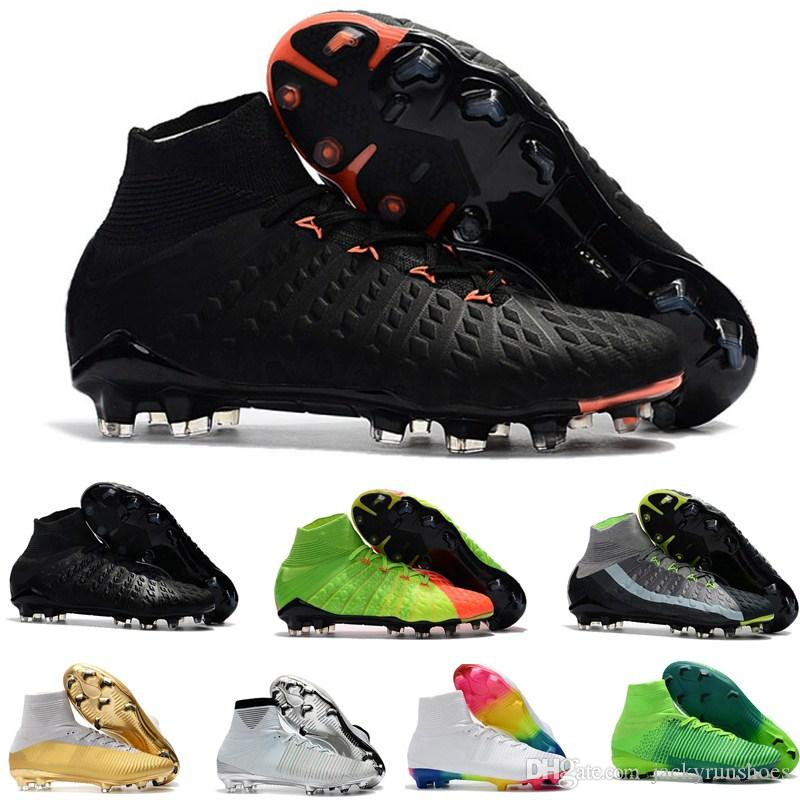 4fb5cc97c06 Mens Hypervenom Phantom soccer cleats kids high ankle Football boots  Mercurial Superfly FG Women Soccer shoes predator cr7 35-45