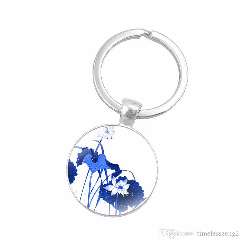 Blue and white porcelain key ring Chinese traditional porcelain pattern key chain Colorful birds and flowers glass pendant keychain