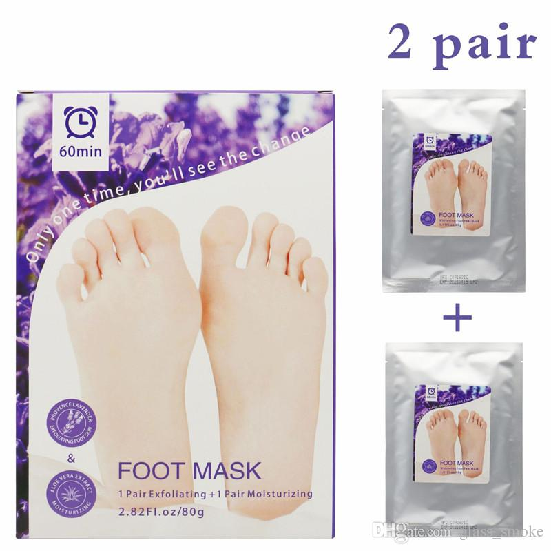 Aloe Vera Lavender Foot Mask Feet Exfoliating Moisturising Mask Skin Peeling Dry Dead Skin Remover Feet Care Beauty Tools 1lot=1box=2pairs