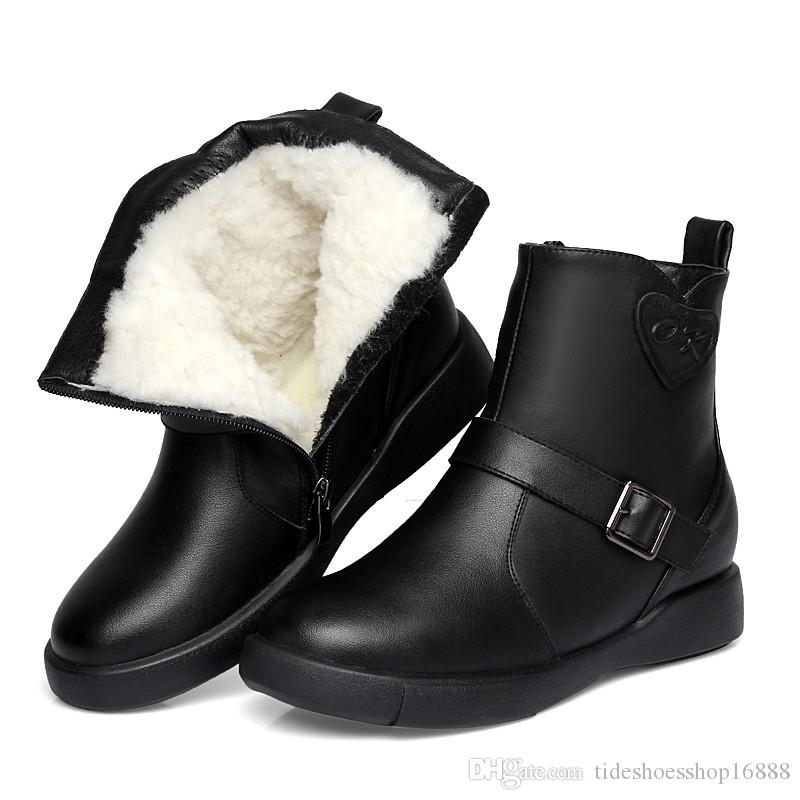 5af68fa31d615 Winter Women Ankle Boots Warm Wool Snow Boots Waterproof Genuine Leather Boots  Women Shoes Woman Fur Botas Mujer Size 35 41 Shoe Sale Pumps Shoes From ...