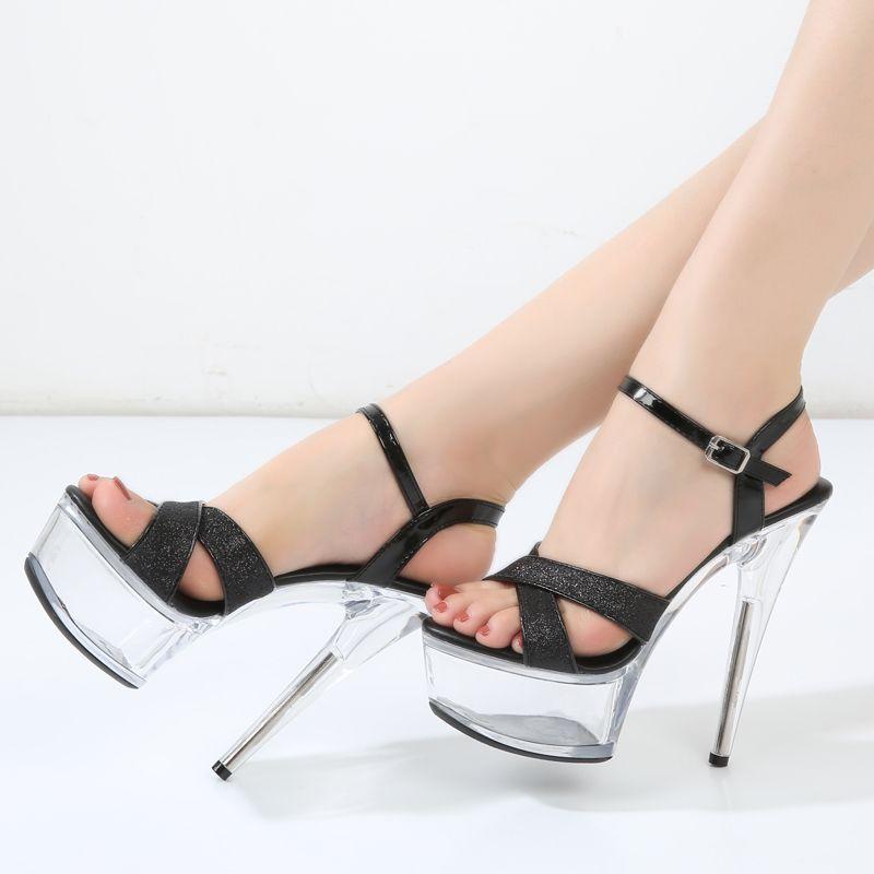 ef9288ad45d Compre Sandalias De Plataforma 15cm Claro Tacones Altos Brillo Transparente  Plata Negro Mujeres Zapatos De Verano Fenty Belleza Moda Fiesta Zapatos  Sexy A ...