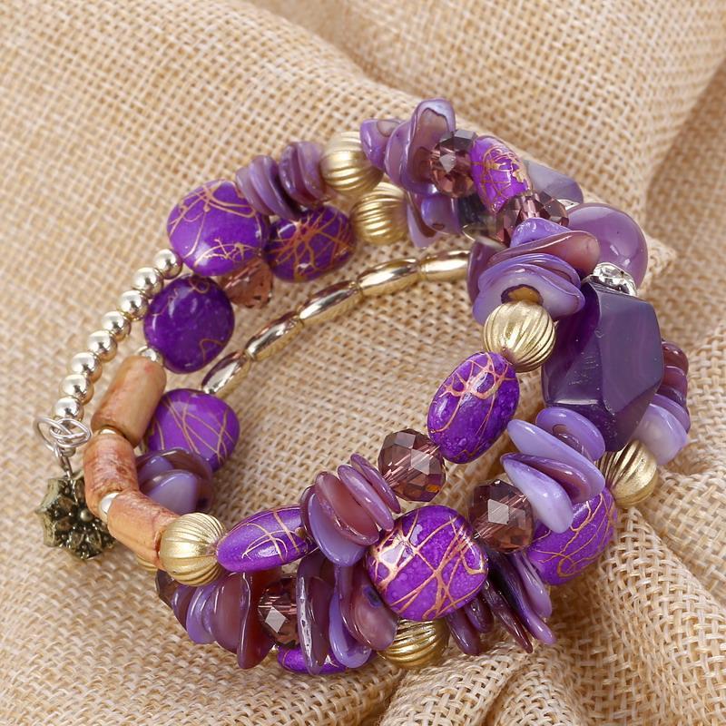 ZOSHI Ethnische Schmuck Böhmen Bunte Perlen Armband Armreifen Lange Mode Charme Armbänder für Frauen Pulseras Mujer Geschenk