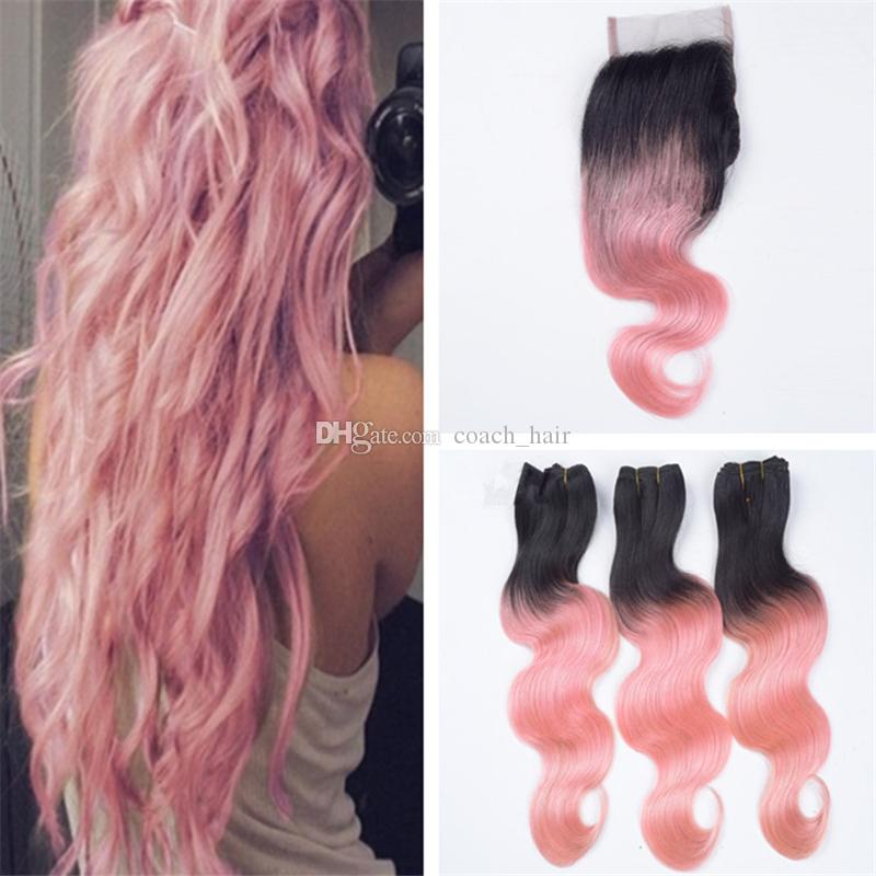 2019 Two Tone 1b Pink Ombre Virgin Hair Bundles With Lace Closure