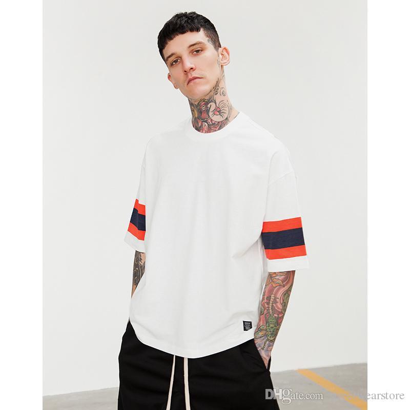 Vermelho tarja azul gota ombro solto t-shirt 2018 Nova Moda Branco T-shirt Homem Manga Curta Top Tees