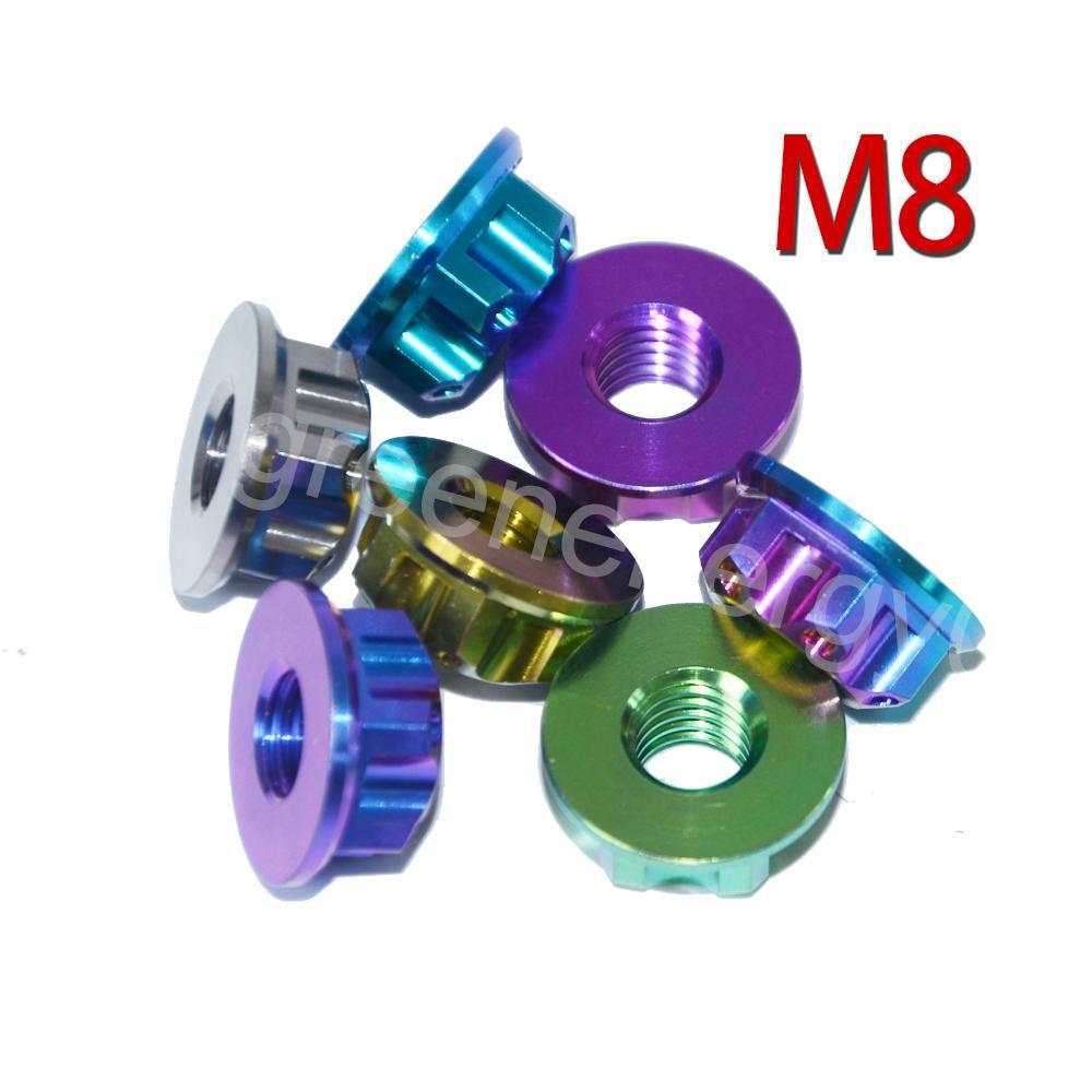 4 pezzi Ti Axle Dado M8 Titanio Torx Dado flangiato Multicolore ed esagono Viti in titanio Fissaggio Ti