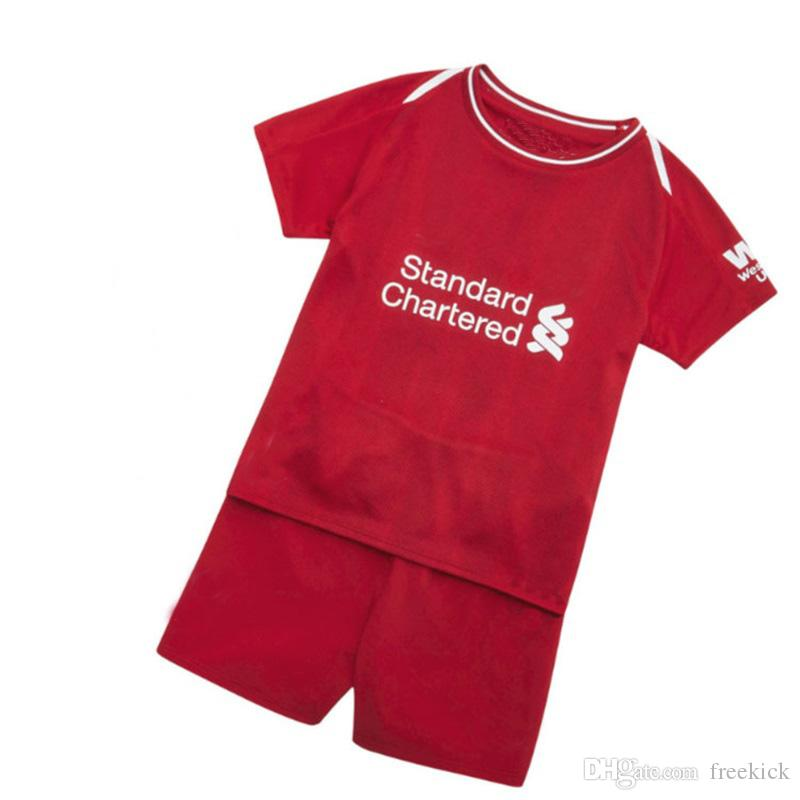 4469ab2141a 2018 19 Season Kids Complete Kit M.Salah Firmino Home Red Shirt And ...
