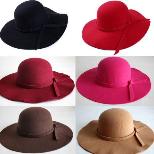 018 New Vintage Country Style Girl Fashion Women Wide Brim Hat Felt ... 3d8841cd8f4