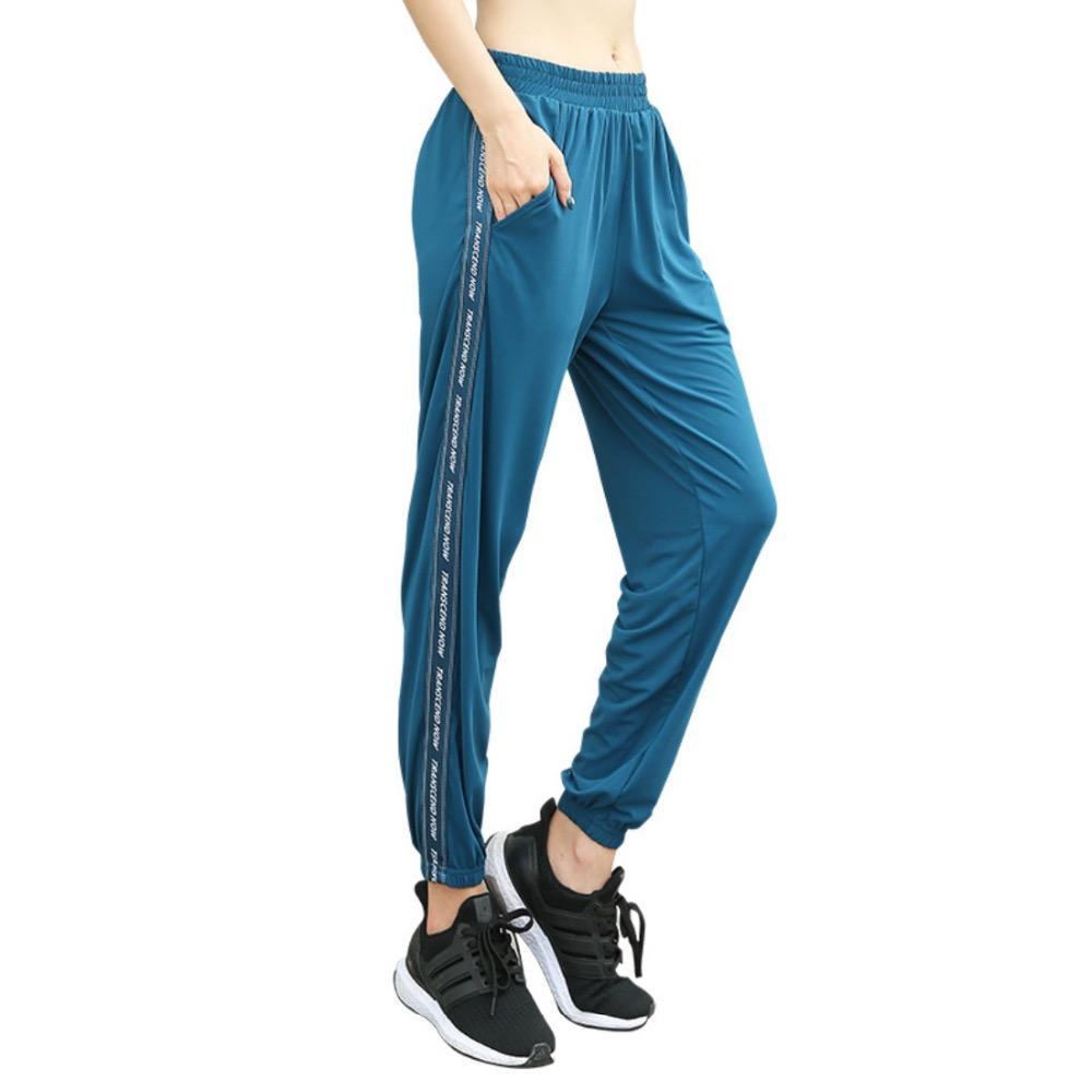 Compre EF8158 Sueltos Suaves Pantalones De Correr Yoga Mujeres Entrenamiento  De Secado Rápido Pantalones Para Correr Ejercicio Femenino Pantalones ... b7bba32c43de5
