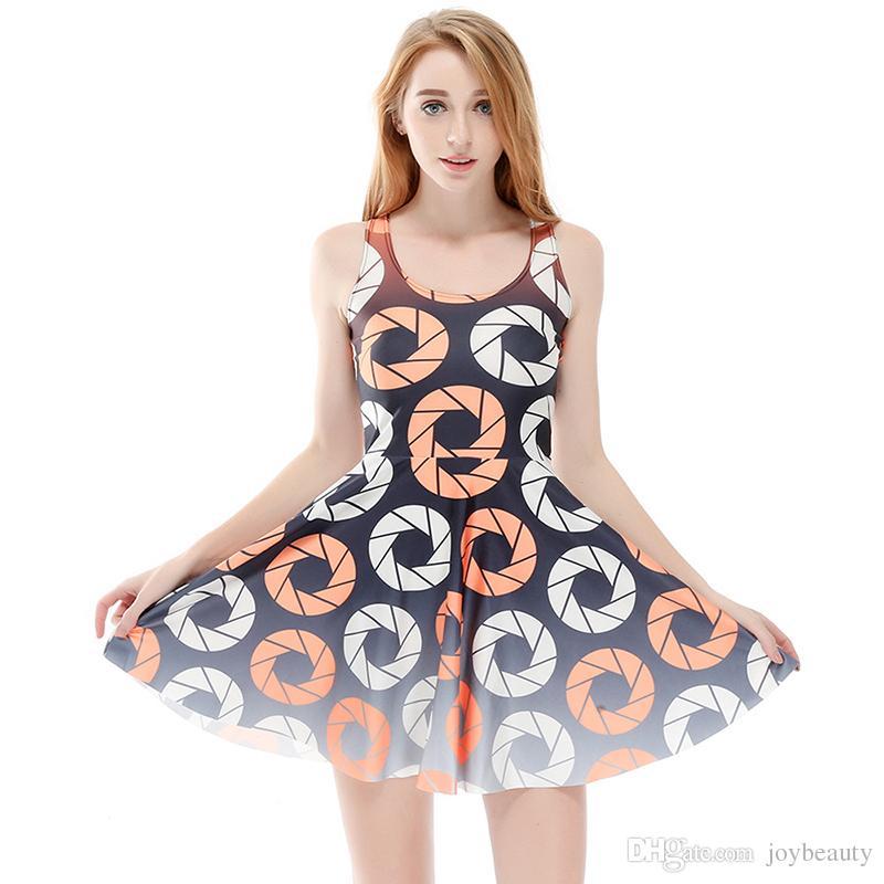 impression 3d occasionnel Femmes cercle flottant robe fille pleine extensible n4n7RvW