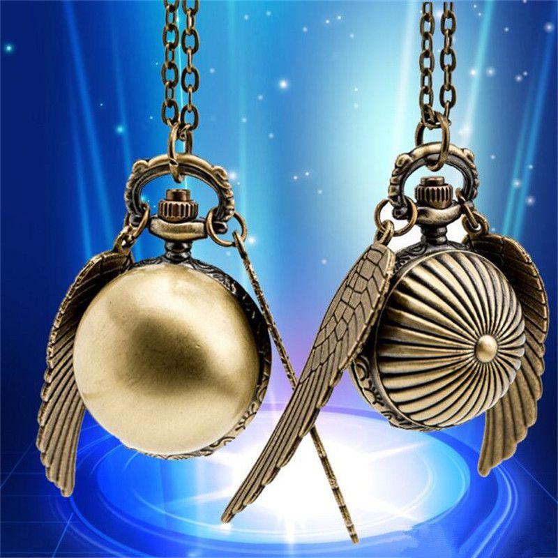 Vintage Bronze Pocket Watch Men Women Unisex Quartz Wactches Necklace Pendant Alloy Chain Fashion Wing Gift Pocket Watches