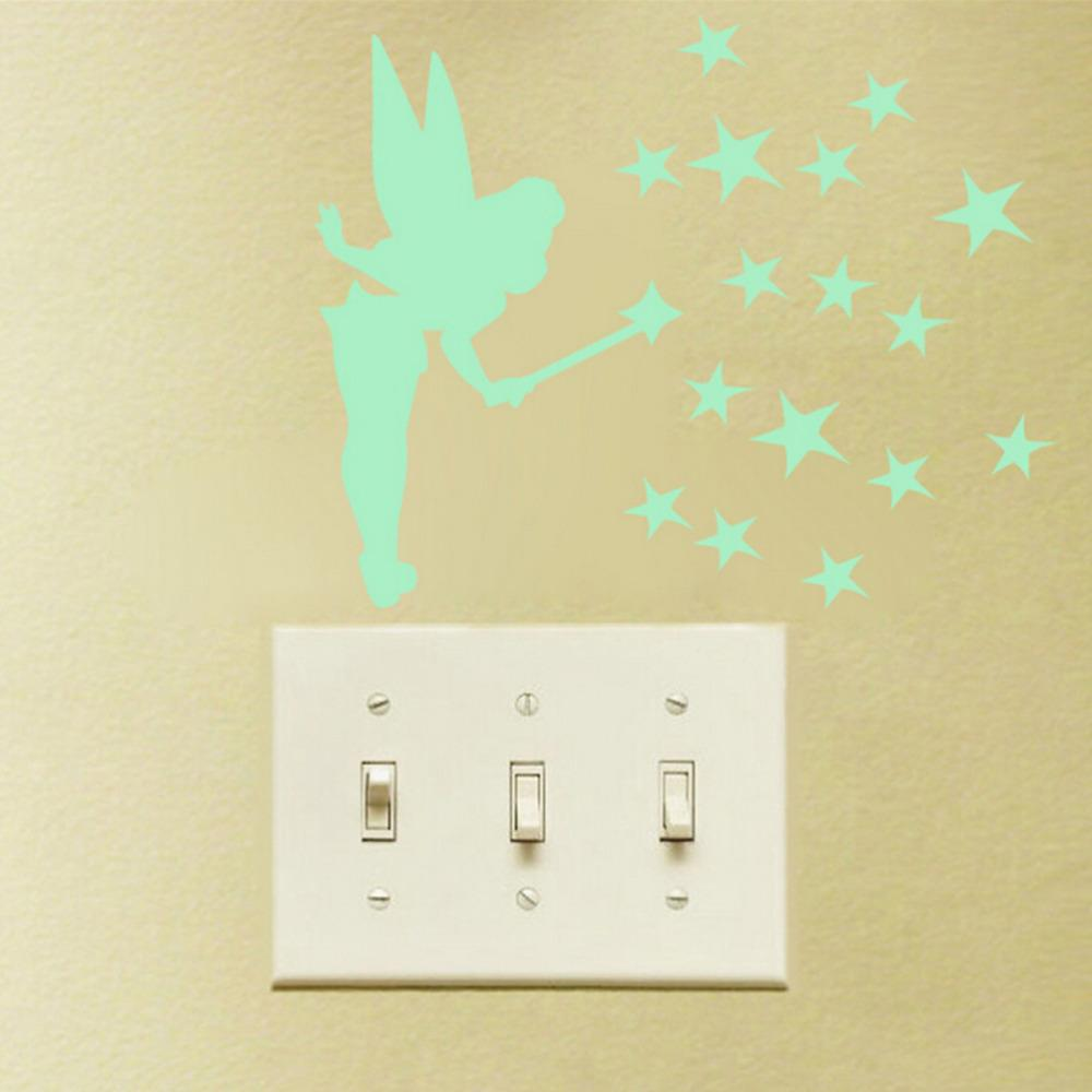 8.5cm * 13cm Sit Tinker Bell Fluorescent Luminous Wall Stickers Glow in Dark Stars Fairy Poster Home Decoration Accessories