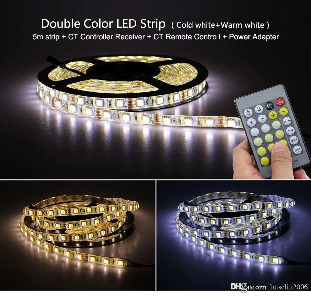 Double Color Led Strip Light 5025 / 2835 Cold White + Warm White 12v Strip  5m + Ct Remote Controller +12v 3a Power Supply Kitchen Led Strip Lights Rgb  Led ...