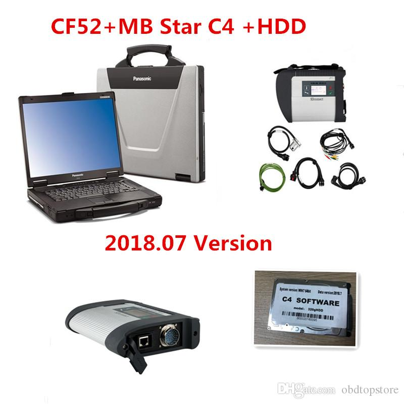 2018 CF52 + MB Star C4 SD Connect + HDD 320GB 2018 07 Xentry Diagnostics  System Compact 4 Diagnosis Multiplexer ForBenz Diagnose