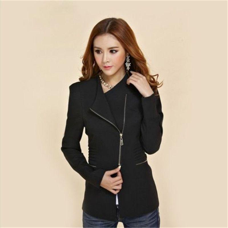 NUOVI Blazer 2017 Spring Women Suit Blazer Autumn Jacket Fashion Zipper manica lunga Solid Slim Red Coat Giacca da ufficio Feminino