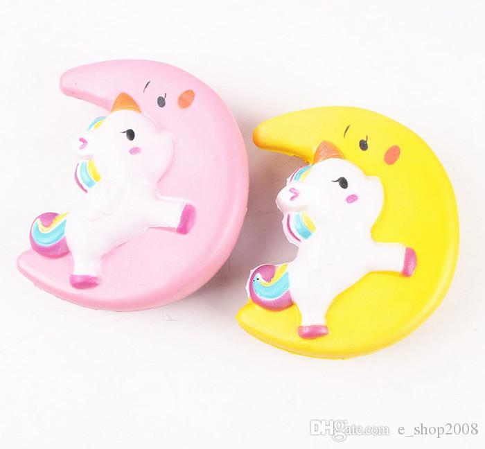 Slow Rising Squishy UNICORN MOON Icecream Flash Powder Kawaii Phone Charms Pendant Straps Christmas Gift Stress Reliever